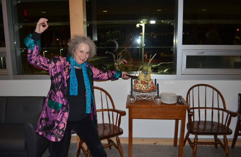 """Margaret Atwood celebrated her birthday with us 17/11/11. Delicious and beautiful """"Ecosystem Cake"""" provided by Kristen Gunn."""
