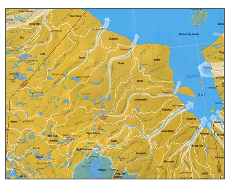Approximately 67% of the surface area of Ontario is within the arctic watershed and drains to Hudson Bay. The major rivers include Albany, Moose, Severn, Winisk, Attawapiskat, and Ekwan.